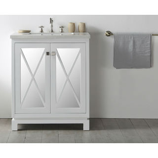 Legion Furniture White Wood 30-inch Faucet-less Sink Vanity with Quartz Top