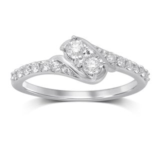 Unending Love 14k White Gold 1/3ct TW I-J/I2 Diamond 2-stone Fashion Ring