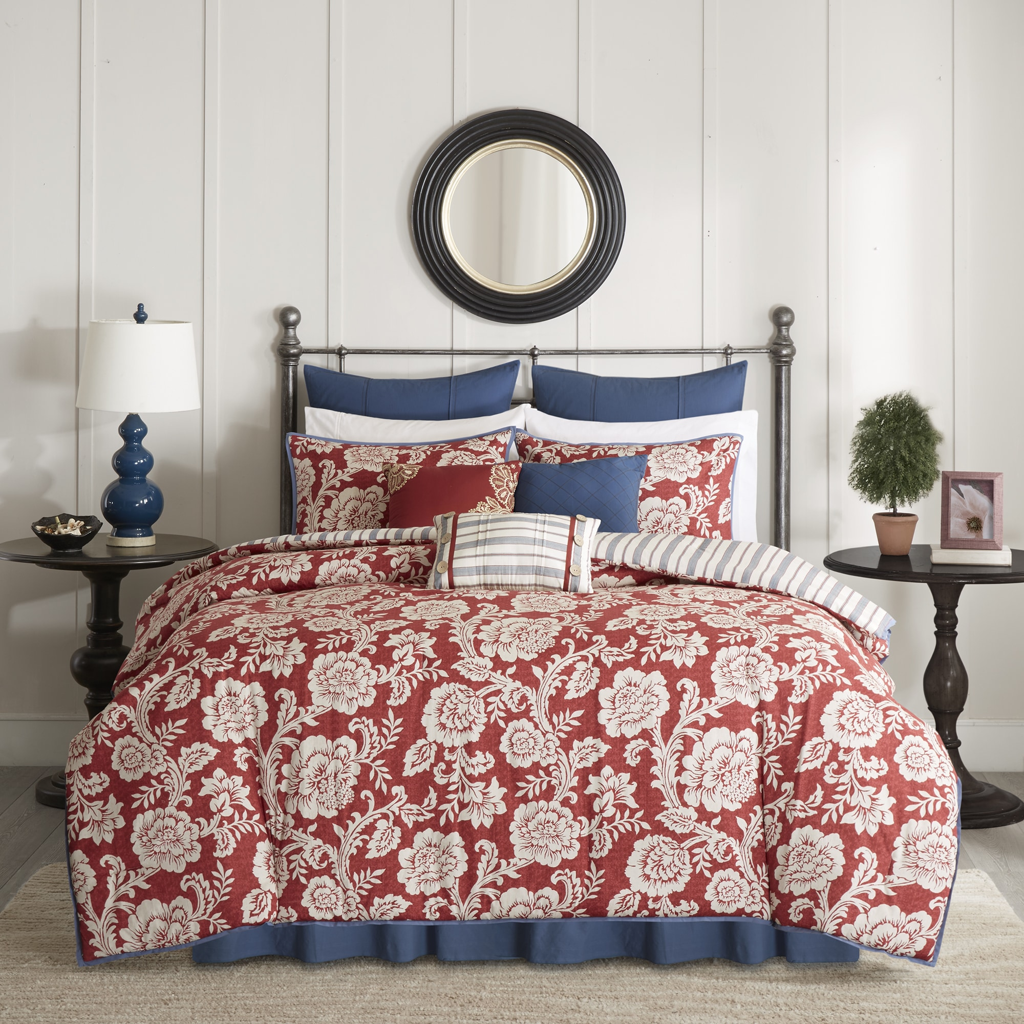 and shams queen euro with comforter paisley colors red sets multiple com bedding vcny sizes ip flocked set home walmart piece available