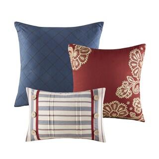 Madison Park Georgia Red Cotton Twill Reversible 9-piece Comforter Set