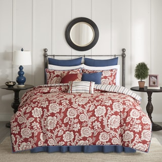 Madison Park Georgia Red Cotton Twill Reversible 9-piece Comforter Set