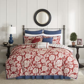red bedroom set. Madison Park Georgia Red Cotton Twill Reversible 9 piece Comforter Set Sets For Less  Overstock com