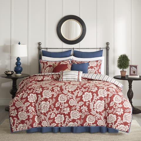 Copper Grove Tetagouche Red Cotton Twill Reversible 9-piece Duvet Cover Set