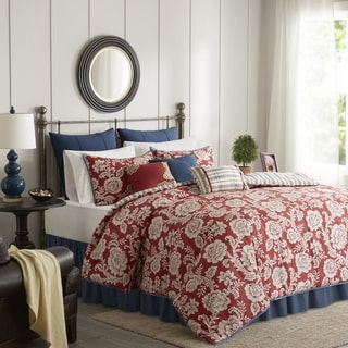 Madison Park Georgia Red Cotton Duvet Cover Set