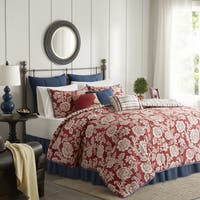 Madison Park Georgia Red Cotton Twill Reversible 9-piece Duvet Cover Set