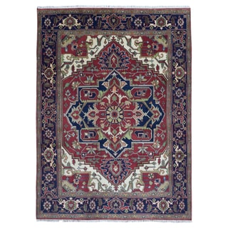 Fine Rug Collection Red/Blue Wool Hand-knotted Serapi Area Rug (8'9 x 11'10)