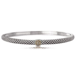 Avanti Sterling Silver And 18K Yellow Gold 1/10 CT TDW Brown Diamond Stackable Bangle