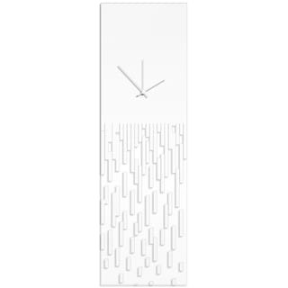Adam Schwoeppe 'White Pixelated Clock' Surreal Wall Clock on Acrylic