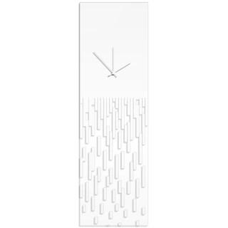 Adam Schwoeppe 'White Pixelated Clock' Surreal Wall Clock on Acrylic