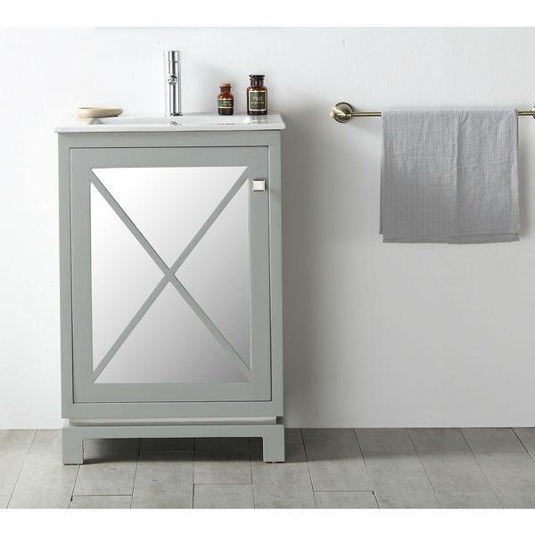 cool grey white bathroom vanity | Shop Legion Furniture Cool Grey 24-inch Single Sink Vanity ...