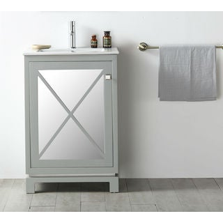 Legion Furniture Cool Grey 24-inch Single Sink Vanity with Ceramic Top