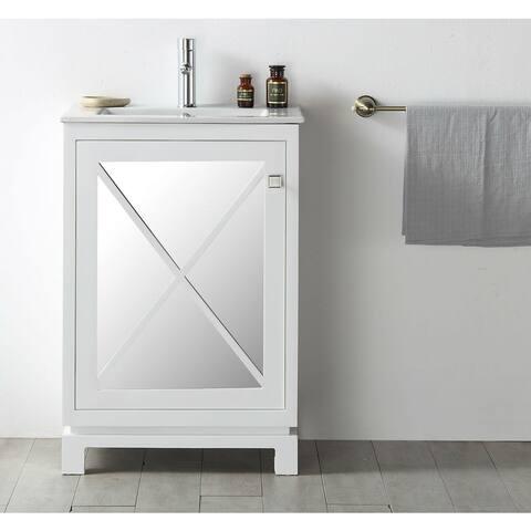 "Legion Furniture 24"" White Single Sink Vanity With Ceramic Top"