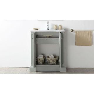 Legion Furniture Cool Grey 30-inch Wood Single-sink Vanity with Ceramic Top