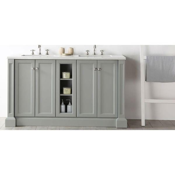 Shop Legion Furniture Quartz Top Cool Grey 60-inch Double Sink ... on virtu bathroom vanity, native trails bathroom vanity, 30 bathroom vanity, euro style bathroom vanity, ambella bathroom vanity, design element bathroom vanity, 48 bathroom vanity, kokols bathroom vanity,