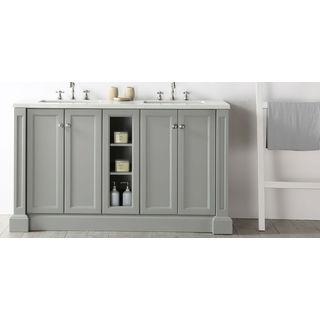 Legion Furniture Quartz Top Cool Grey 60-inch Double Sink Bathroom Vanity