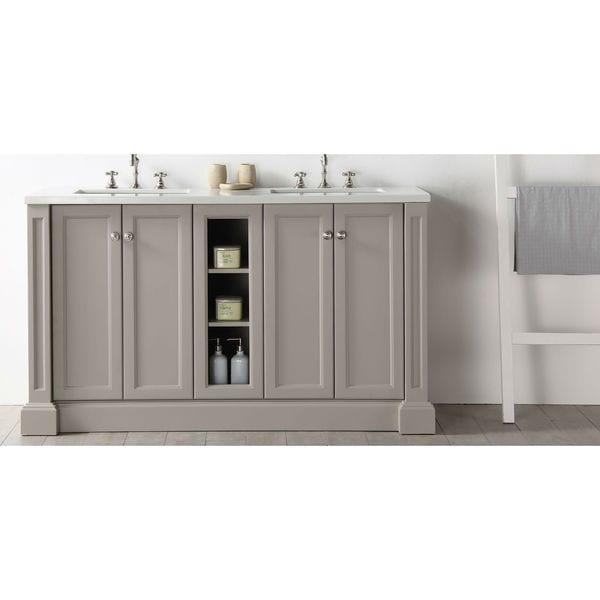Legion Furniture Quartz Top Warm Grey 60-inch Double Bathroom Vanity