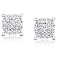 Finesque Sterling Silver Diamond Accent Round Stud Earrings