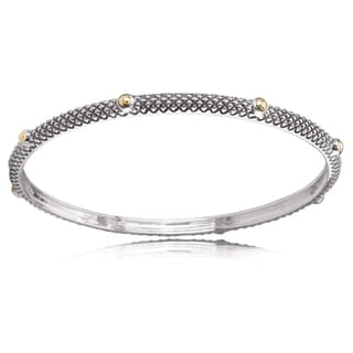 Avanti Sterling Silver And 18K Yellow Gold Stackable Bead Accent Bangle