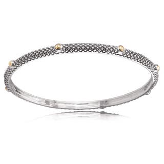 Avanti Sterling Silver And 18K Yellow Gold Stackable Bead Accent Bangle|https://ak1.ostkcdn.com/images/products/12835261/P19601173.jpg?impolicy=medium