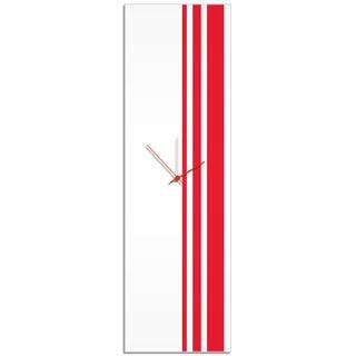 Adam Schwoeppe 'Red Triple Stripe Clock' Large Modern Clock on Acrylic