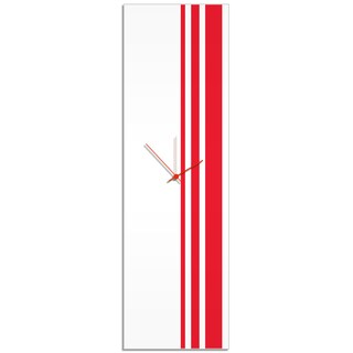 Adam Schwoeppe 'Red Triple Stripe Clock' Large Modern Clock on Acrylic
