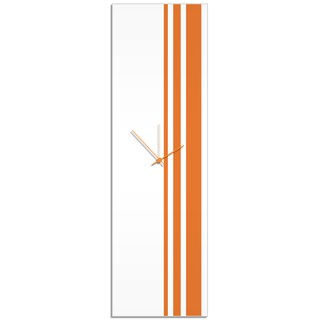 Adam Schwoeppe 'Orange Triple Stripe Clock' Large Modern Clock on Acrylic