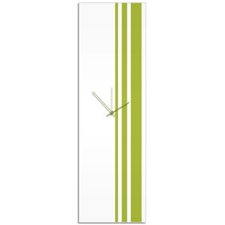 Adam Schwoeppe 'Green Triple Stripe Clock' Large Modern Clock on Acrylic