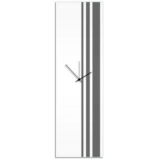 Adam Schwoeppe 'Grey Triple Stripe Clock' Large Modern Clock on Acrylic