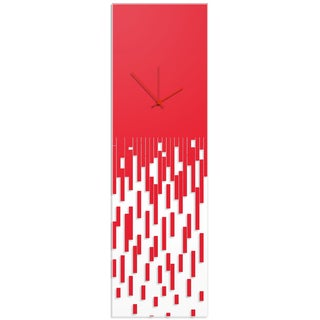 Adam Schwoeppe 'Red Pixelated Clock' Surreal Wall Clock on Acrylic
