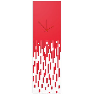 Adam Schwoeppe 'Red Pixelated Clock' Surreal Wall Clock on Acrylic