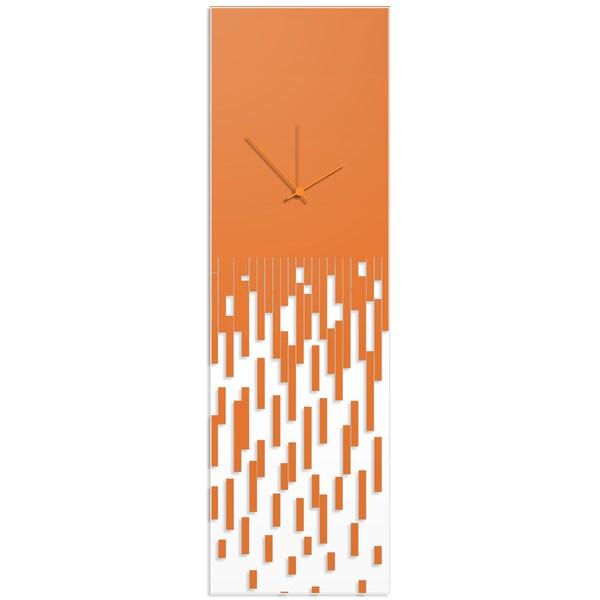 Adam Schwoeppe 'Orange Pixelated Clock' Surreal Wall Clock on Acrylic