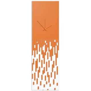 Adam Schwoeppe 'Orange Pixelated Clock' Surreal Wall Clock on Acrylic