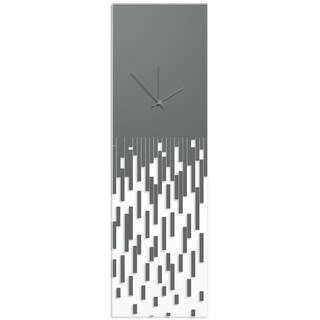 Adam Schwoeppe 'Grey Pixelated Clock' Surreal Wall Clock on Acrylic