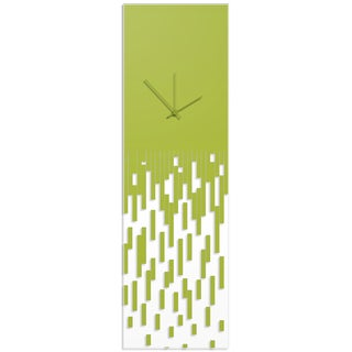 Adam Schwoeppe 'Green Pixelated Clock' Surreal Wall Clock on Acrylic