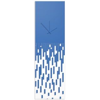 Adam Schwoeppe 'Blue Pixelated Clock' Surreal Wall Clock on Acrylic