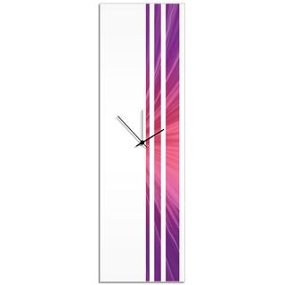 Adam Schwoeppe 'Silk Triple Stripe Clock' Large Modern Clock on Acrylic