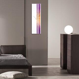 Adam Schwoeppe 'Sunset Triple Stripe Clock' Large Modern Clock on Acrylic