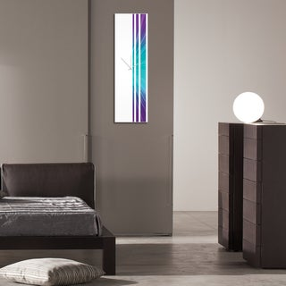Adam Schwoeppe 'Nebula Triple Stripe Clock' Large Modern Clock on Acrylic