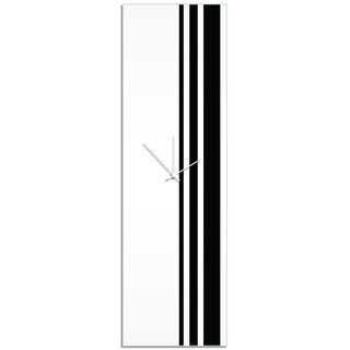 Adam Schwoeppe 'Black Triple Stripe Clock' Large Modern Clock on Acrylic (Option: White)