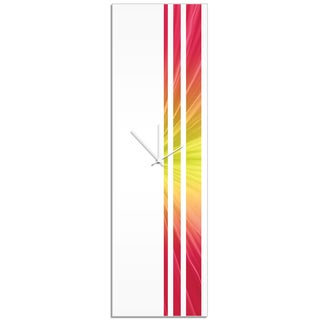 Adam Schwoeppe 'Fire Triple Stripe Clock' Large Modern Clock on Acrylic
