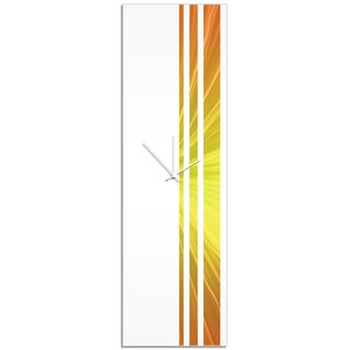Adam Schwoeppe 'Sunshine Triple Stripe Clock' Large Modern Clock on Acrylic