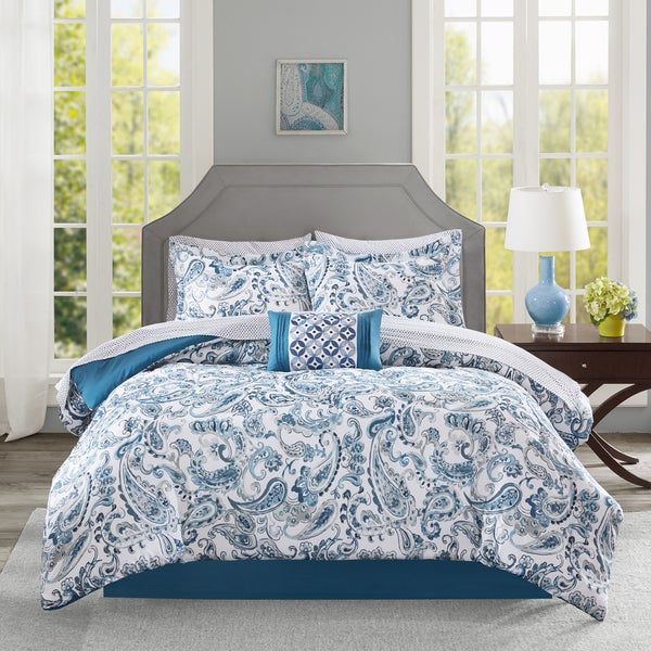 Madison Park Essentials Kiley Indigo Complete Comforter and Cotton Sheet Set