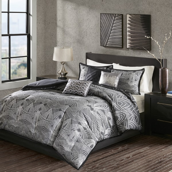 Madison Park Francesca Black Jacquard Comforter Set