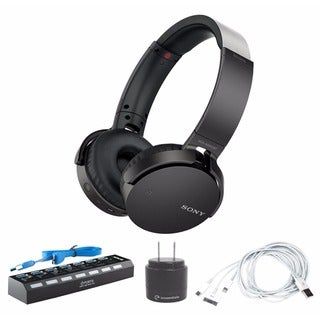 Sony Extra Bass Bluetooth® Headphones (Black) with 7-Port USB 3.0 Hub & Accessory Bundle