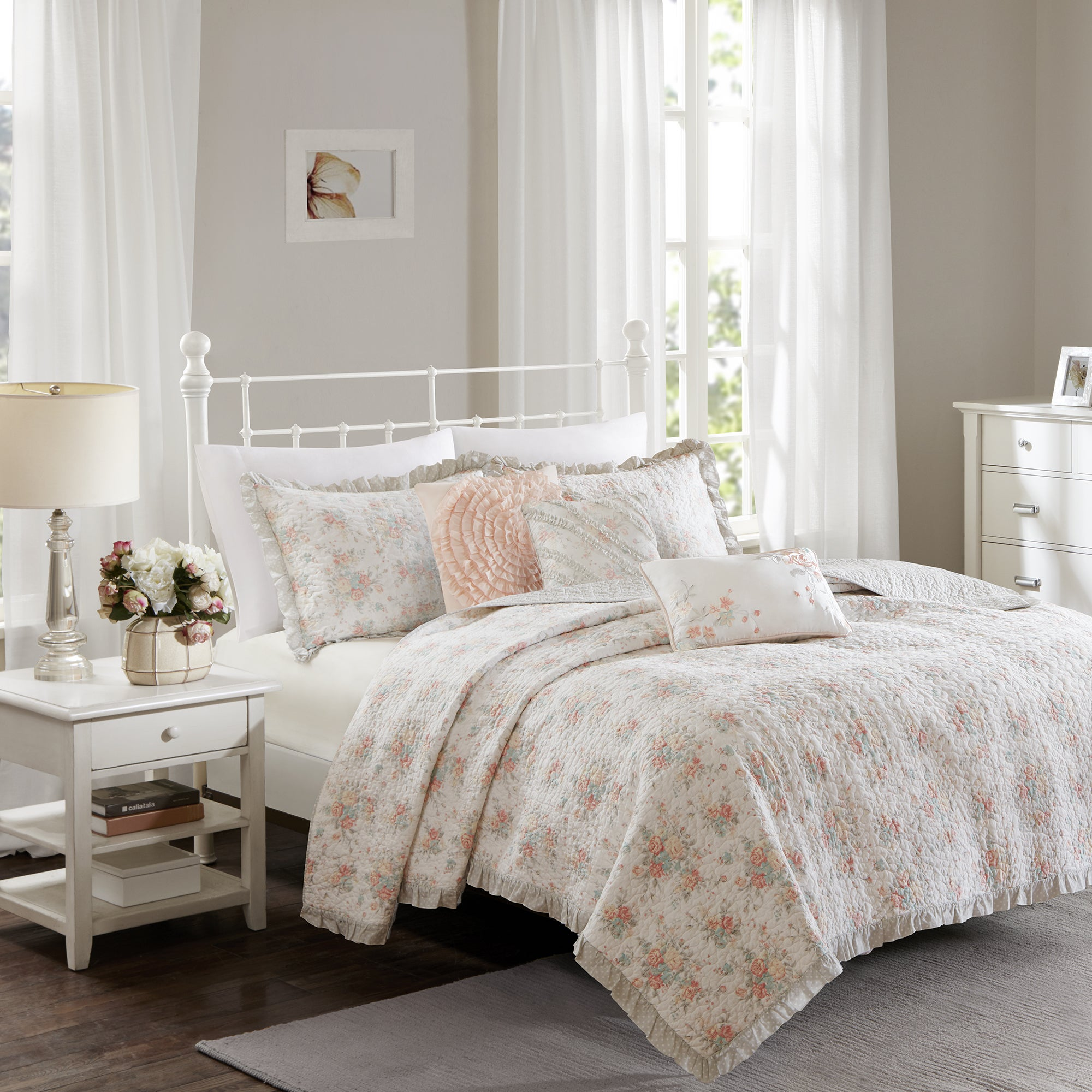 Madison Park Harmony Coral Cotton Percale Coverlet Set