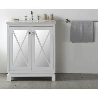 Legion Furniture Warm Grey Wood 30-inch Faucetless Sink Vanity with Quartz Top