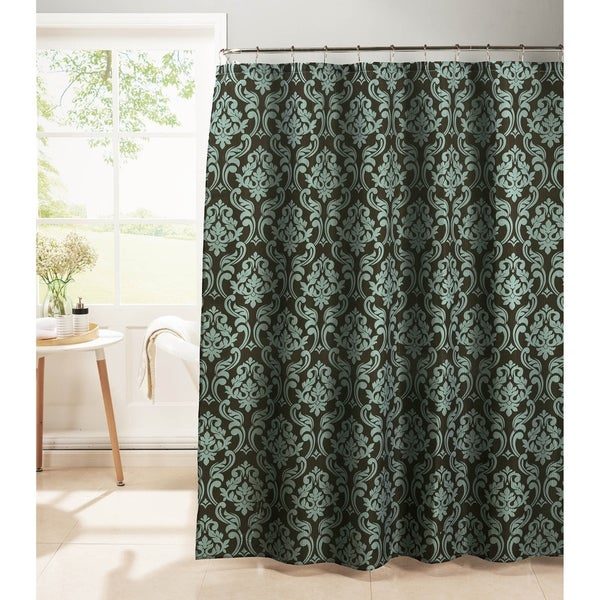 Creative Home Ideas Diamond Weave Textured 13 Piece Shower Curtain With Metal Roller Hooks In