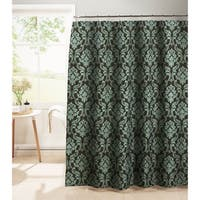 Creative Home Ideas Diamond Weave Textured 13-Piece Shower Curtain with Metal Roller Hooks in Chain Damask Black / Chocolate