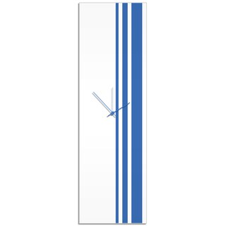 Adam Schwoeppe 'Blue Triple Stripe Clock' Large Modern Clock on Acrylic