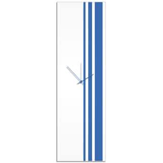 Adam Schwoeppe 'Blue Triple Stripe Clock' Large Modern Clock on Acrylic